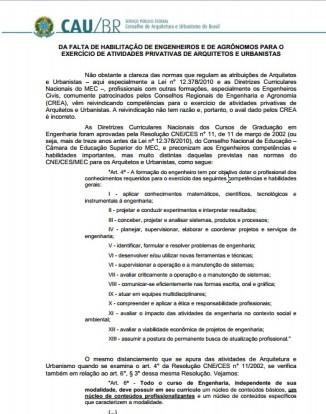 Fonte: http://www.caubr.gov.br/wp-content/uploads/2015/06/Notas-explicativas-sobre-atribuicoes-privativas-de-arquitetos-e-urbanistas.pdf