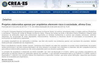 Fonte: http://www.creaes.org.br/creaes/PRINCIPAL/tabid/55/ctl/Details/mid/402/ItemID/2223/Default.aspx
